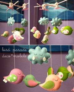 Felt bird mobile. This would be perfect near the tree in the playroom!