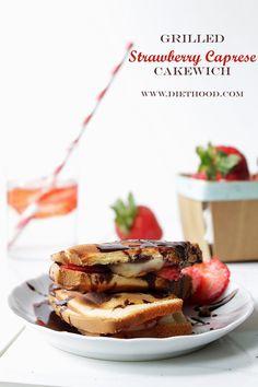 Grilled Strawberry Caprese Cakewich | www.diethood.com | #summer #recipe #dessert #cakewich #strawberries #tastesummer desserts, grill strawberri, berri cheesecak, sandwich, strawberri capres, strawberries, capres salad, capres cakewich, grill recip