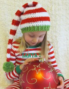 Christmas Crochet Long Tail Elf Hat Red, White and Greeen by ChasenSophieBoutique Christmas Card Photo Prop