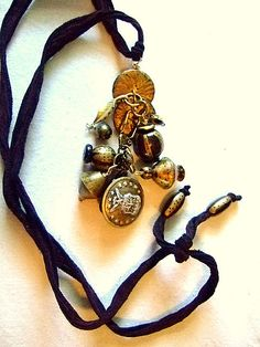 Gold and Black Jewelry Necklace Handpainted by MereTrinkets, $24.00