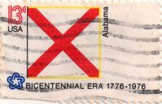US postage stamp, 13 cents.  Alabama.  Issued 1976.  Scott catalog 1654.