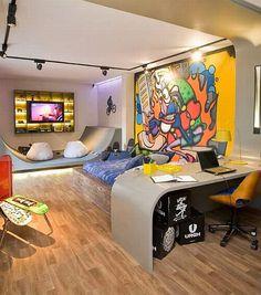 Bom dia!! Vejam o post Quarto de Moço com blog Em Casa de Maria -> http://www.blogsdecor.com/emcasademaria/quarto-tematico-de-moco/ #decor #decoracion #decoracao #quarto #bedroom #menino #adolescente #garoto #skate #grafite