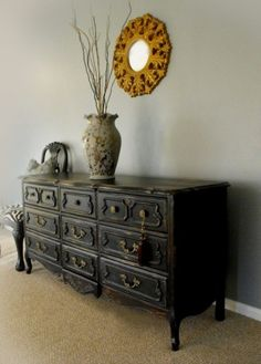refinished black french provincial buffet - Google Search