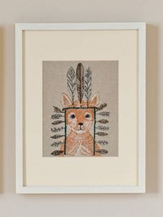 Fox Portrait Framed Stitched Artwork