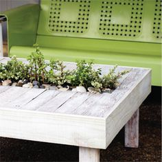 Upcycled Palette Cocktail Table~ several palettes & $10 in materials make this cool cocktail table w/channel to hold plants or ice/drinks.