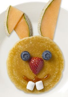 Kids Creative Meal Idea ~ Easter Breakfast ~  Kick off the day in true Easter style with these adorable bunny pancakes. This delicious meal is not only easy to make (you don't even have to shape the batter) but the fruit accessories make it a balanced meal that will give your kids the energy they need to kickstart their day.