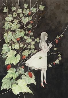 midori yamada「つた」 Modern art Japan  Watercolor