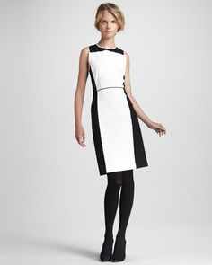 Theory Nyasha Two-Tone Crepe Dress - Neiman Marcus