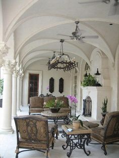 vaulted ceiling portico