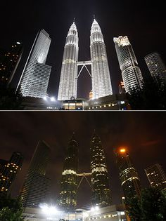 The Petronas Twin Towers turned off the lights to mark Earth Hour in Kuala Lumpur