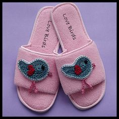 cute idea...add crocheted appliques to those plain house slippers