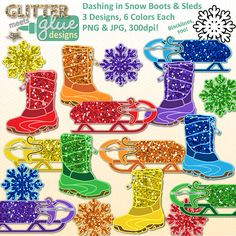 Dashing in Snow Boots & Sleds Clipart: Winter January Glitter Fun! #winter #clipart #graphics #illustrations #tpt #teacherspayteachers