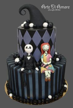#Jack_Skellington and Sally #Nightmare_Before_Christmas cake by Arte Di Amore