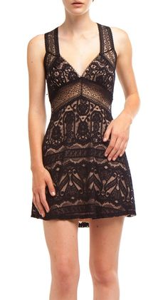Criss Cross Back Lace Dress,