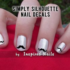 Mustache Nail Decals Black and Clear Simply by InspiredNails, $4.75