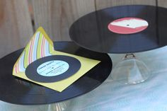 hot glue records to martini glasses to create cake stands
