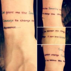 JoJo's new wrist tattoo: Serenity Prayer   The thing I love the most about this is the fact that it wraps around like a tiny, simple bracelet. When she posted this on Instagram not that long ago, I fell in love.