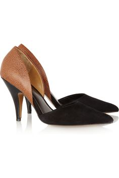 3.1 Phillip Lim D'Orsay suede and textured-leather pumps