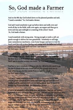 So God Made a Farmer Poem