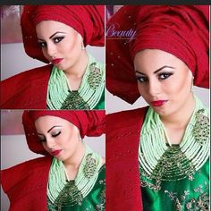 Red and green Nigerian wedding! Lovely bride.