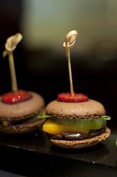 chocolate #macarons with ganache, mango, kiwi and strawberry