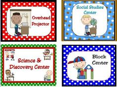 Learning Center Signs & Labels from KellyYoung on TeachersNotebook.com - (61 pages) - The adorable graphics on these learning center signs and labels are very kid friendly and help little ones find their assigned learning centers! There are large labels for over 45 different centers with matching smaller labels. Please contact me if they d