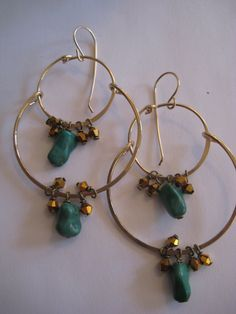 Chinese Turquoise and Gold Double hoop earrings by 3tomatoes, $75.00