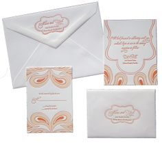 Adorable bright white and orange paisley invitation suite. #weddinginvites #paisely #weddingchicks Stationery Design: Staccato ---> http://www.weddinginvitationsbystaccato.com