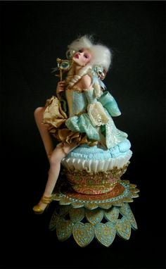 """Antoinette Cupcake Pin Up"" by Nicole West. I love this doll's dramatic pose & facial expression"