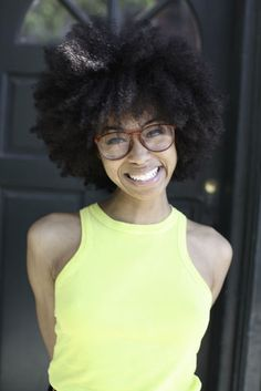 fro natur, smiley, beauti fro, natur hair, glass, natur beauti, belle, curly hair, natural hair fro