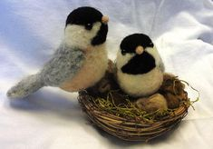 needle felted chickadees. Adorable