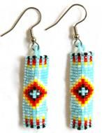 Turquoise beaded cutglass earrings hand loomed with size 15 beads in a geometric pattern