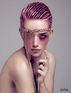 pink wet hair and punk chain jewelry