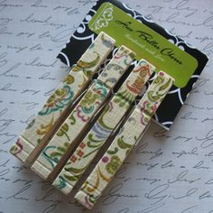 Multicolor Floral Fabric Covered Clothespin Magnets  by mllevaleur