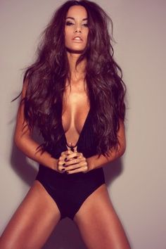 long wavy hair and sexy black swimsuit #fitness #motivation #workout