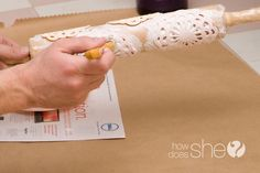 Homemade Rolling Stamp Wrapping Paper - good idea