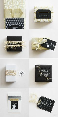 Creative Holiday Packaging | Black, White, Gold | Chalkboard Wrapping Paper, Tinsel, Chevron Ribbon, and more!