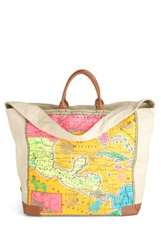 Mix and Map Tote - Multi, Novelty Print, Travel, Cotton, Leather, Beach/Resort, Graduation