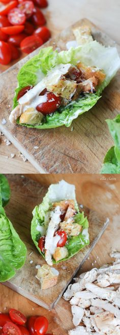 DELISH Chicken Caesar Lettuce Wraps with Homemade Parmesan Croutons~ perfect summer meal