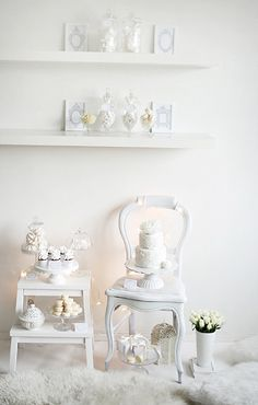 Airy, sweet, endlessly pretty Winter White Dessert Table. #winter #white #entertaining #party #table #station #DIY #food #cooking #baking #dessert