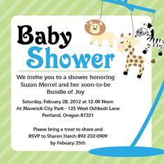 Customizable baby shower invitation template - Jungle Animal Mobile