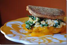 Breakfast Sandwich (spinach, spicy eggs, cheddar, english muffin)