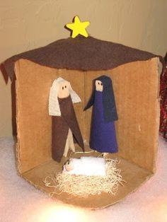 Aangeklede wasknijpers: Clothespin Nativity