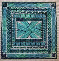 Green canvaswork (needlepoint) by Allisona, via Flickr green canvaswork, cross stitch, crafti inspir