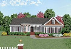 Ranch House Plan with 1982 Square Feet and 3 Bedrooms from Dream Home Source | House Plan Code DHSW23434 - use living room as craft room - open access to rest of house.