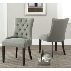 Marseille Grey Linen Nailhead Dining Chairs (Set of 2)   Overstock.com $359.99