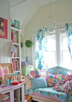 sun room would look great like this decor, craft space, color, shabby chic, white walls, bedroom, bright colours, girl rooms, craft rooms