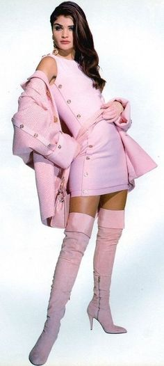 1980s pink fashion style, soft pink, vintage pink, pink outfits, helena christensen, thigh high boots, pink fashion, 1980s pink, coats