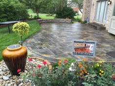 Stamped Concrete Patio Cincinnati Ohio Fire Pit Seating wall