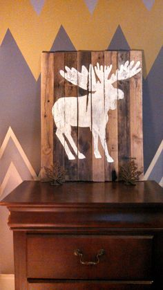 hand made distressed wood pallet moose silhouette painting 22x28 rustic primitive chic pallet furniture elk deer cabin lodge on Etsy, $50.00